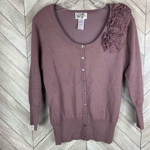 Anthropologie parallax cardigan with rose detail.